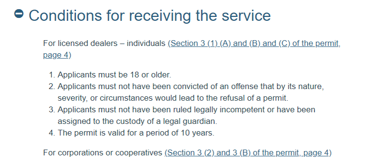 """Screenshot of gov.il service page with """"Conditions for receiving the service"""""""
