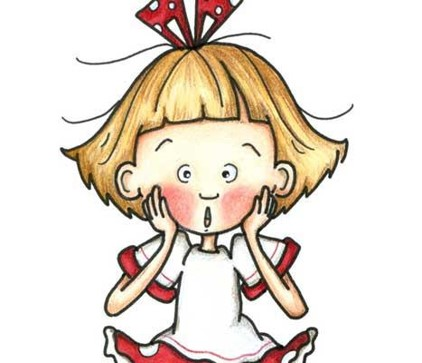 Cartoon picture of a small girl looking like she is saying Uh oh!