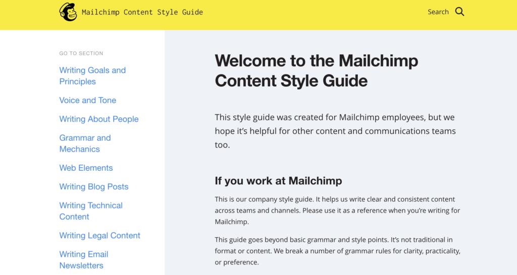 mailchimp content styleguide