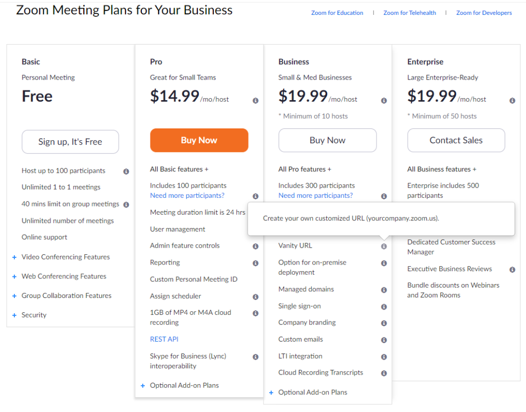 zoom pricing page