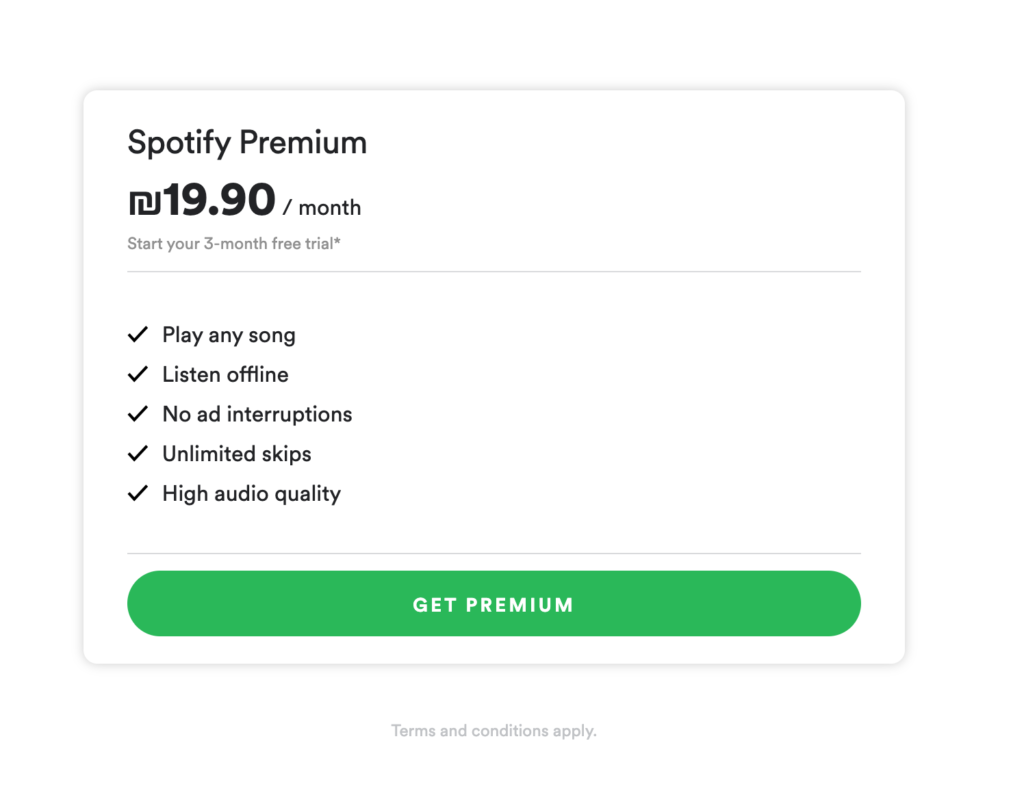 spotify pricing page design