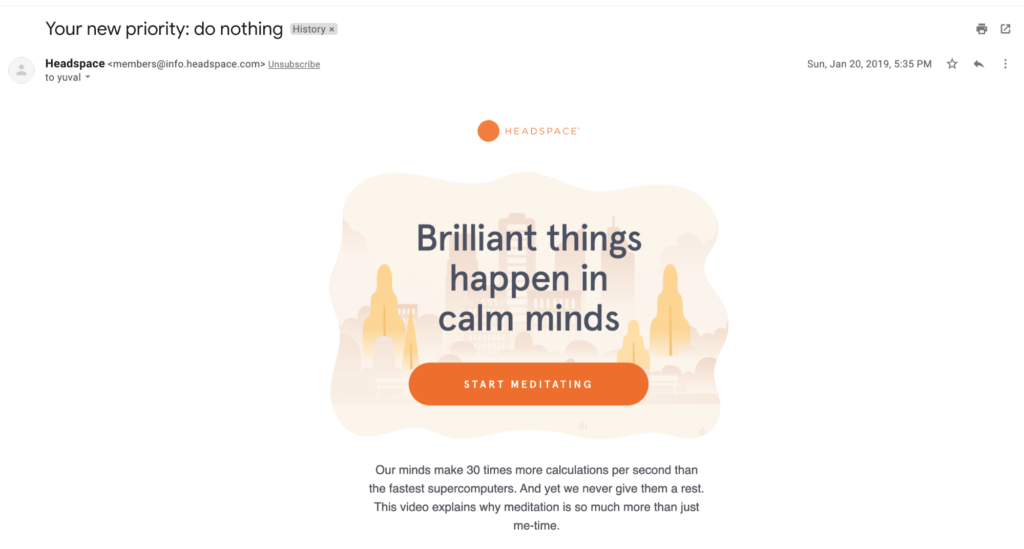 Headspace emails