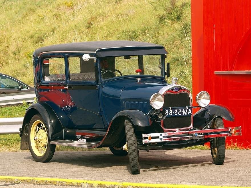 A black vintage Ford