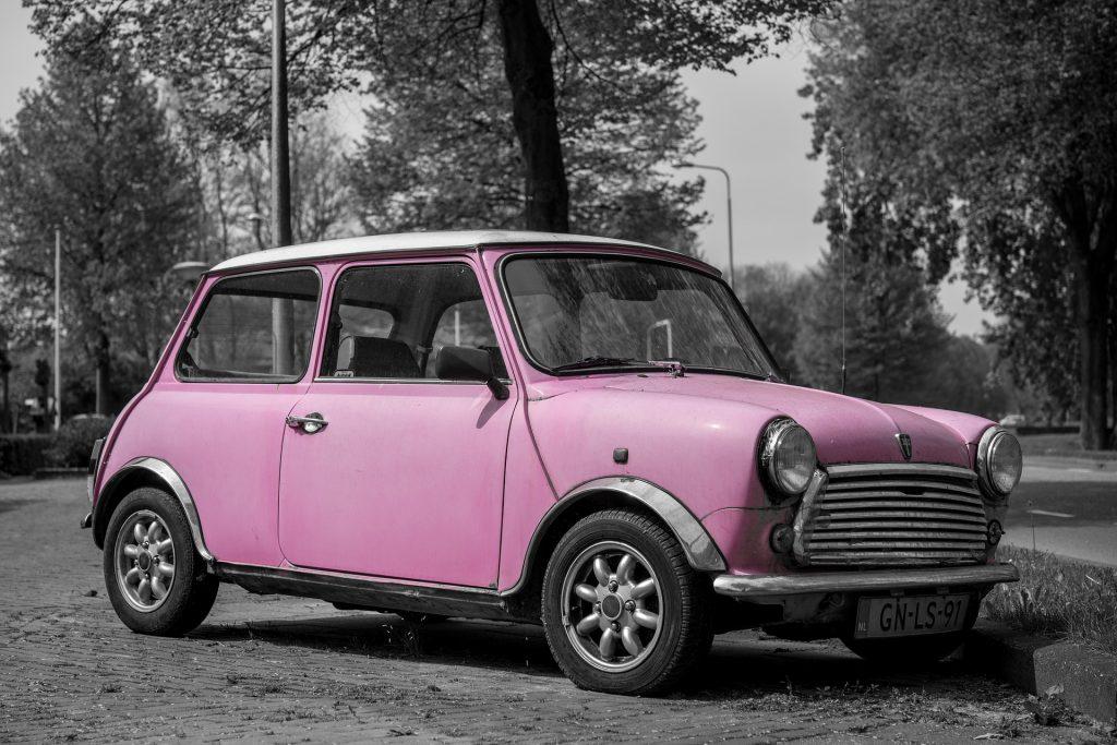 A pink mini car