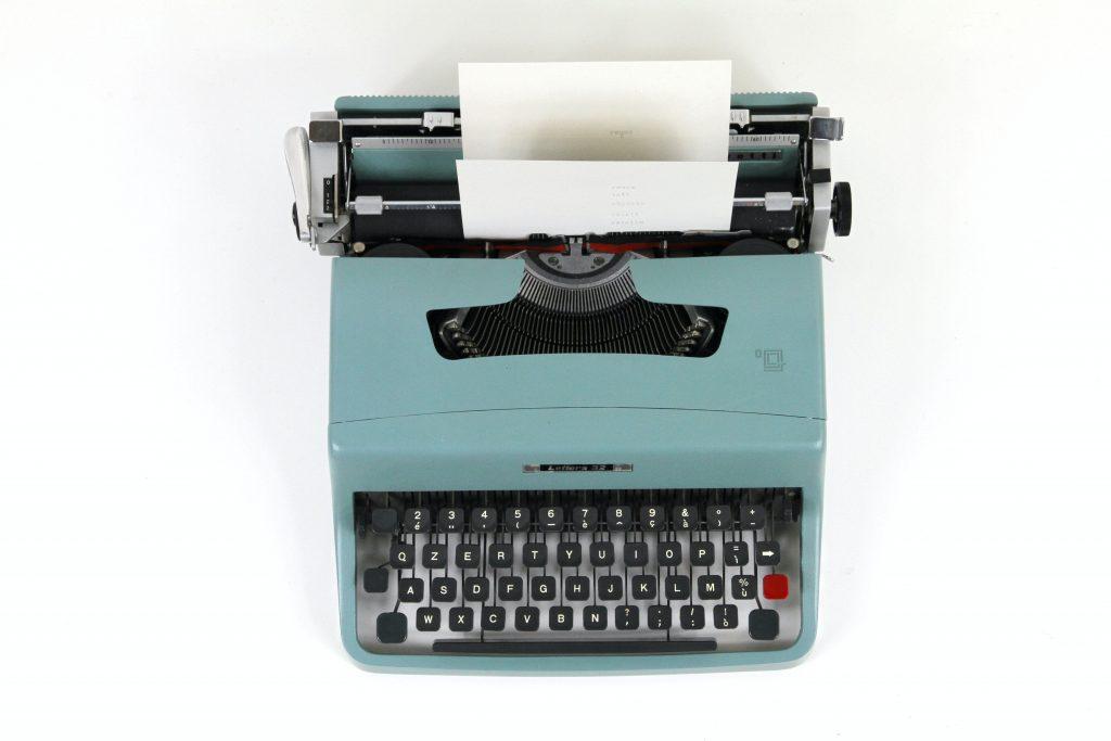 A blue typewriter