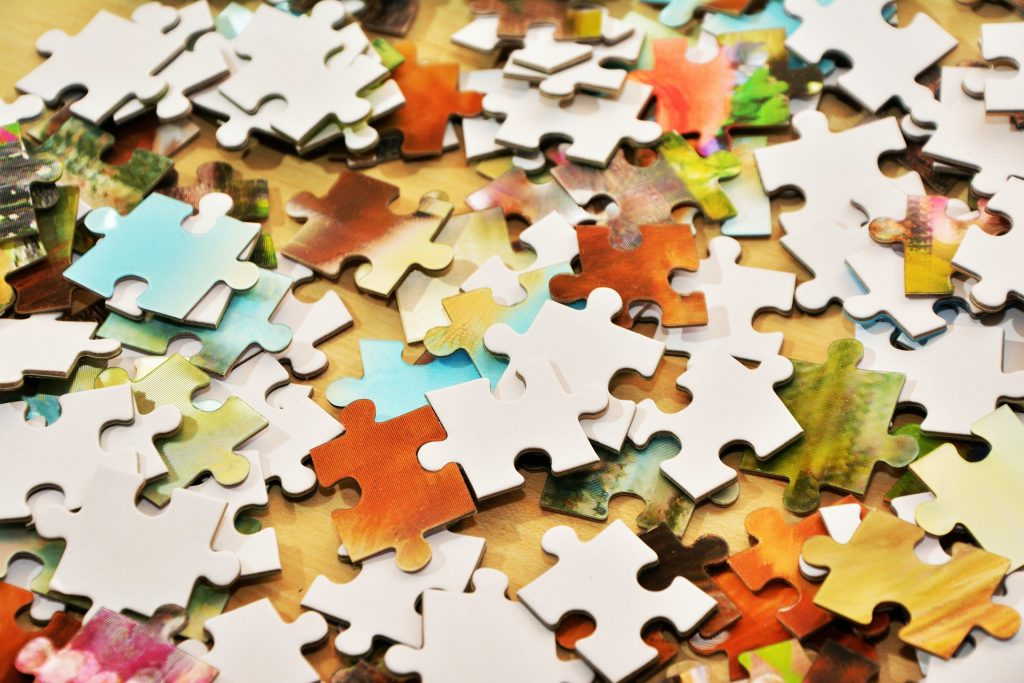 Pieces from a jigsaw puzzle