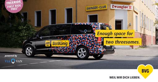 Ad of ridesharing company BerlKönig from Berlin