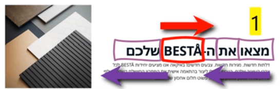 Screenshot from Hebrew IKEA catalogue with reading direction highlighted