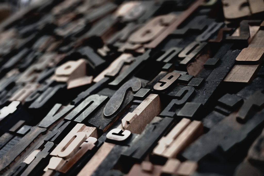 Metal letters for printing