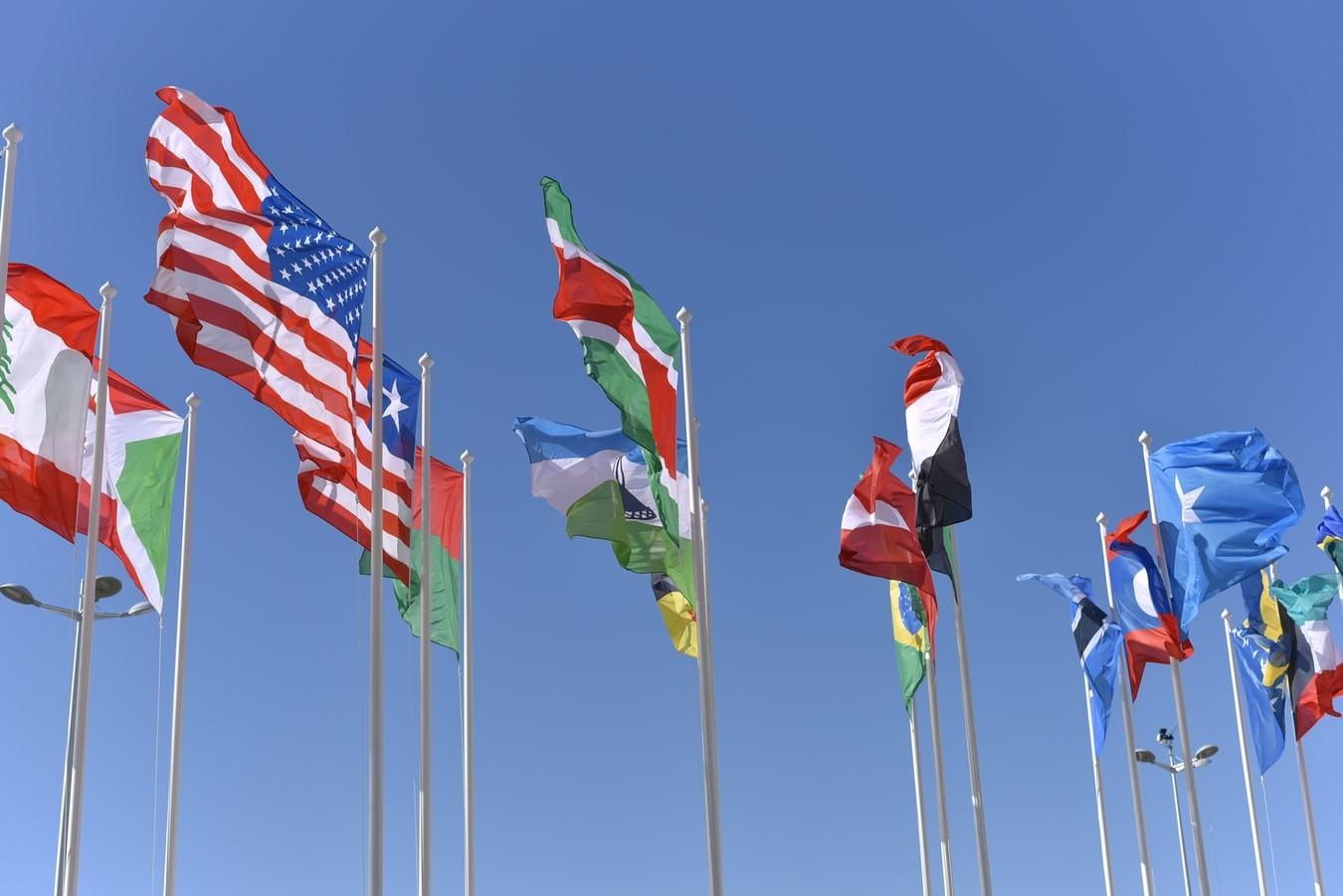 Several international flags