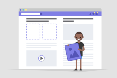 Illustration of a person adding content to a web interface