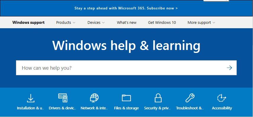 Screenshot of Microsoft online help section