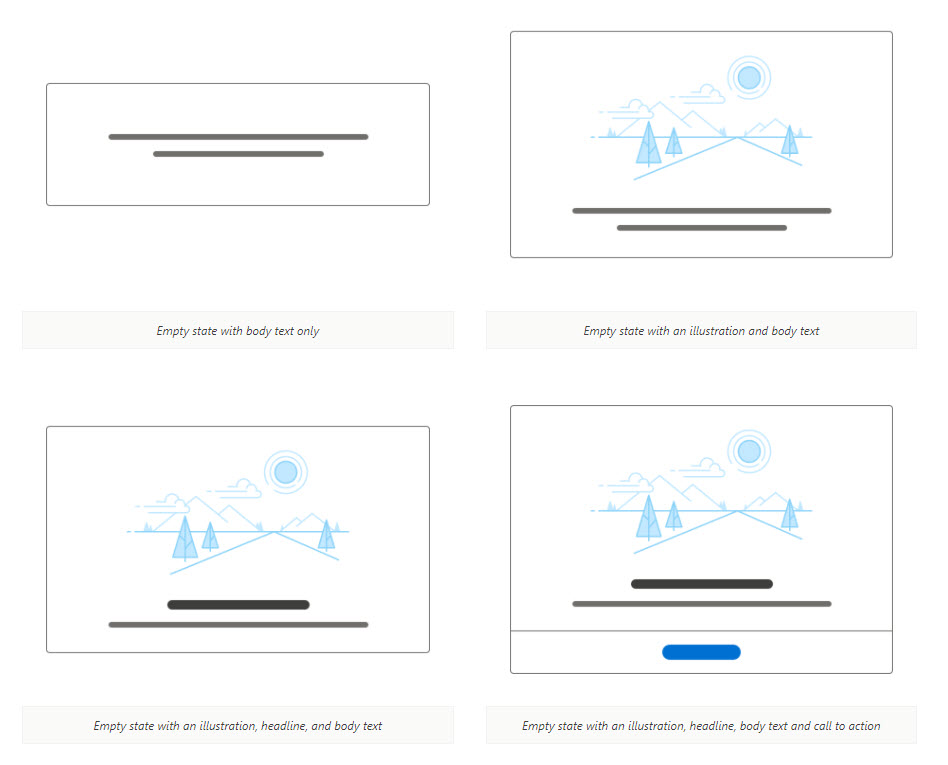 Visual examples of empty states in Salesforce's Lightning design system, showing available options for illustrations, body text, headlines and a call to action