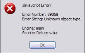 screenshot of a cryptic javascript error message