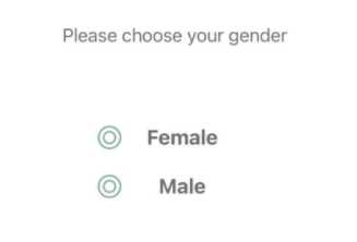 A signup screen that asks for make and female gender
