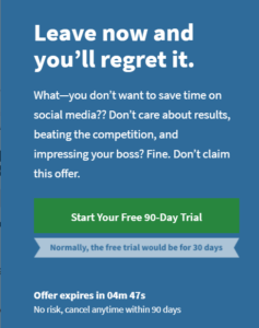 Extreme confirmshaming message from HootSuite