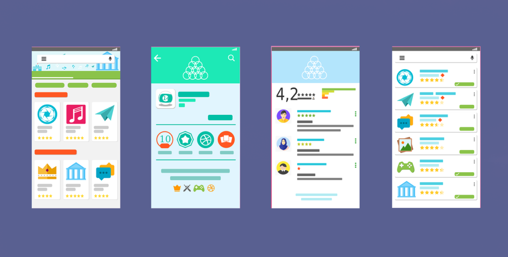 Illustration of 4 mobile screens without copy